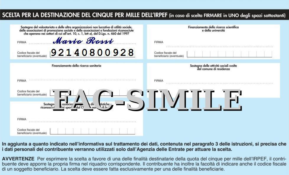 Esempio di compilazione del riquadro per la destinazione del 5x1000 a ISF Cagliari.